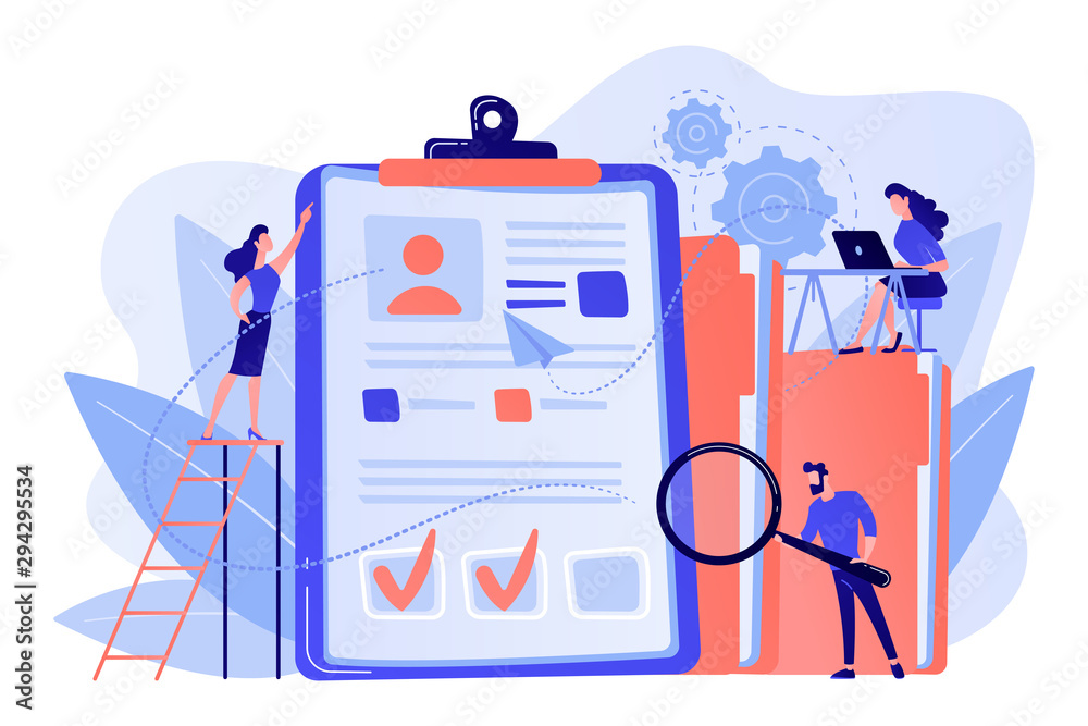 Fototapeta Recruiters and managers searching for candidate in huge CV for position. Recruitment agency, human resources service, recruitment network concept. Pink coral blue vector isolated illustration