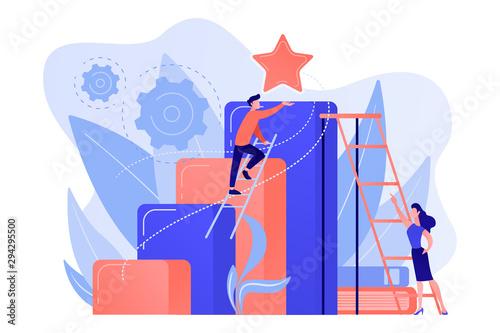 Businessman and woman start climbing ladder Fototapet
