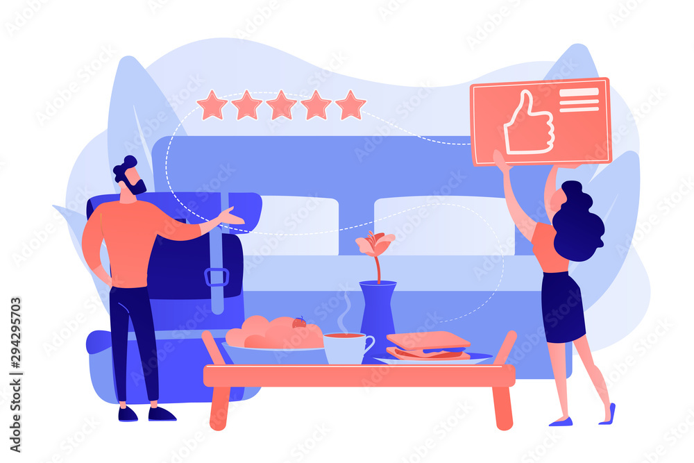 Fototapeta Luxurious service, satisfied customer feedback, positive review. Bed and breakfast, overnight home accommodation, bed and breakfast hotel concept. Pink coral blue vector isolated illustration