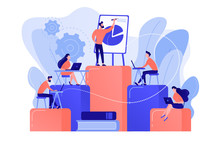 Employees With Laptops Learning At Professional Trainig. Internal Education, Employee Education, Professional Development Program Concept. Pinkish Coral Bluevector Isolated Illustration