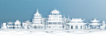 Panorama View Of Hangzhou Skyline With World Famous Landmarks Of China In Paper Cut Style Vector Illustration.