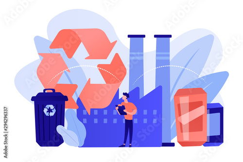 Specialist at plant recycling plastic into raw material, waste bin Canvas Print