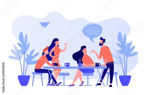Obraz Group of friends sitting at the table talking, drinking coffee and tea, tiny people. Friends meeting, cheer up friend, friendship support concept. Pinkish coral bluevector isolated illustration - fototapety do salonu