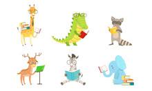 Cartoon Humanized Animals Read Books. Vector Illustration.