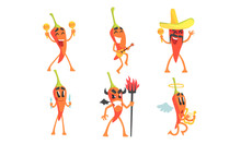 Set Of Cartoon Red Hot Chili Peppers. Vector Illustration.