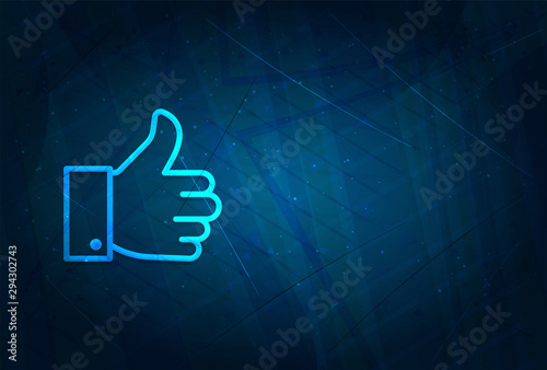 Cuadros en Lienzo  Thumbs up like icon futuristic digital abstract blue background