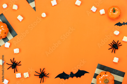 Vászonkép  Table top view aerial image of decorations Happy Halloween day background holiday concept