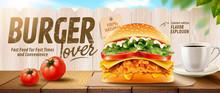 Fried Chicken Burger Banner Ads