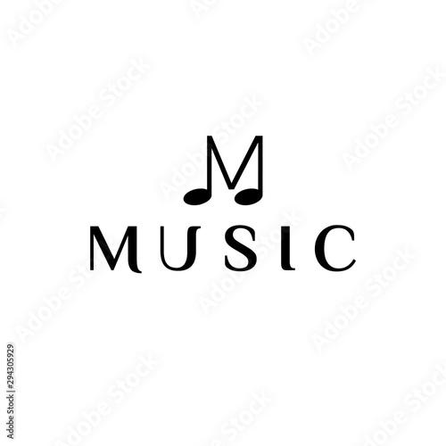 Music Letter logo template. Letter M. Vector Illustration. Canvas Print