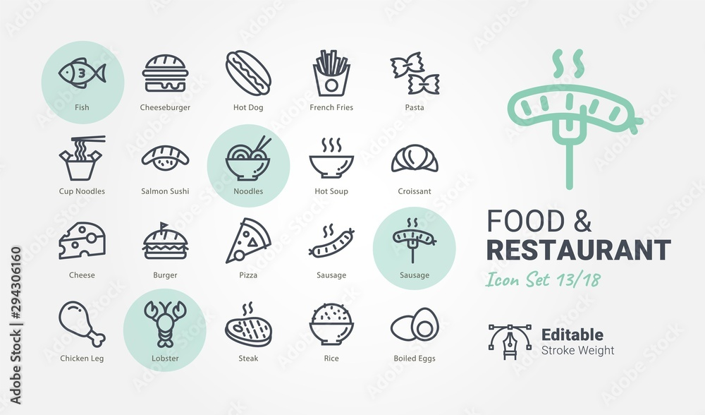 Fototapety, obrazy: Food & Restaurant vector icon collection
