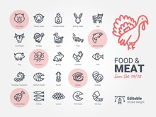 Food & Meat Vector Icon Collec.
