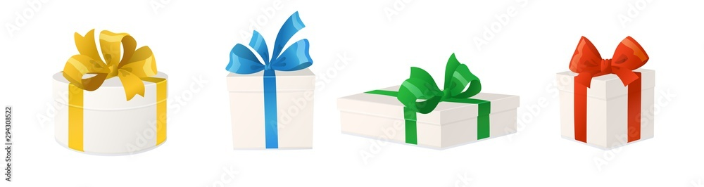 Fototapeta Cartoon gift boxes with bows isolated on white background, vector illustration.