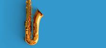 Saxophone On Blue Background C...