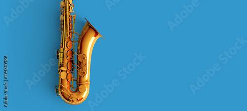 Fotomural Saxophone on blue background color