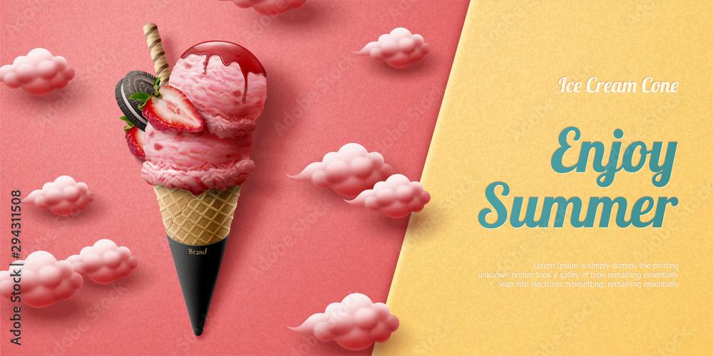 Fototapety, obrazy: Strawberry ice cream cone ads
