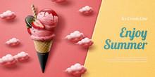Strawberry Ice Cream Cone Ads