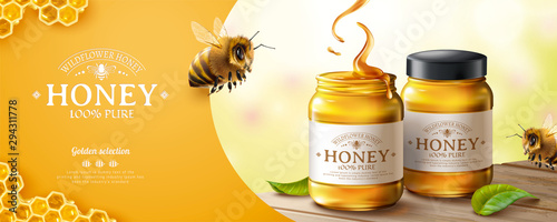 Slika na platnu Pure honey banner ads