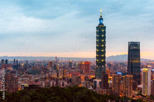 Photo  May 4, 2019 :Skyline of Taipei cityscape Taipei 101 building of Taipei financial