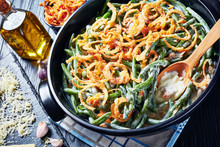 Green Bean Casserole Topped With Fried Onions