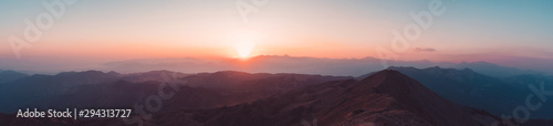 Obraz Beautiful sunset over Taurus Mountains from the top of Tahtali Mountain near Kemer, Antalya, Turkey - fototapety do salonu