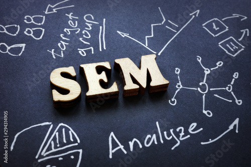 SEM letters from wood as abbreviation Search Engine Marketing. Wallpaper Mural
