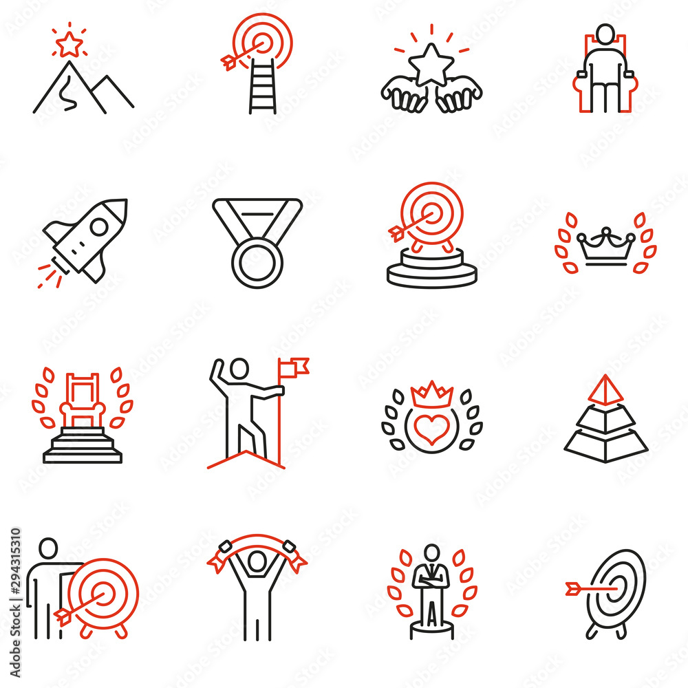 Fototapeta Vector set of linear icons related to leadership development, assertiveness, empowerment, skills. Mono line pictograms and infographics design elements - 2