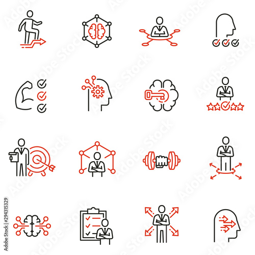 Fotografie, Tablou Vector set of linear icons related to leadership development, assertiveness, empowerment, skills