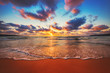 canvas print picture - Beautiful sunset over the tropical sea
