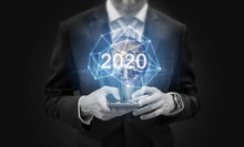 2020 New Global Technology And New Global Business Trend. Element Of Thins Image Are Furnished By NASA