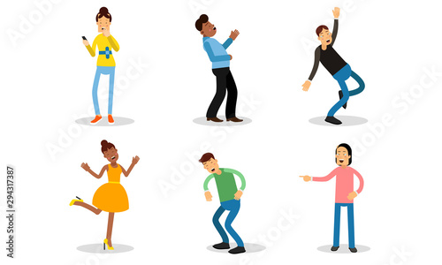 Illustration Set With Laughing People Isolated On White Background Canvas Print