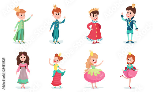 Obraz na plátně Set Of Vector Illustrations With Little Boys And Girls Wearing Fairy Princes And