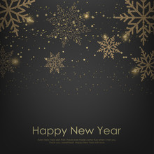 Happy New Year Or Christmas Card With Falling Golden Snowflakes. Vector