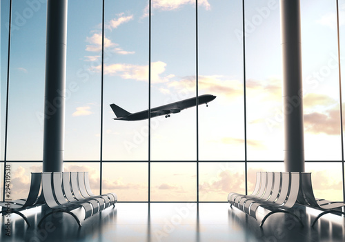 Obraz airplane flying in sky - fototapety do salonu