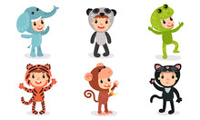 Set With Six Children In Different Christmas Or Baby Holiday Costumes Cartoon Characters Vector Illustrations