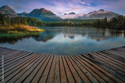 Garden Poster Trees Strbske Pleso in High Tatras from Slovakia