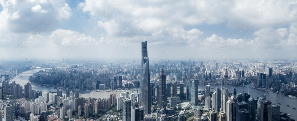 Fototapeta aerial view of shanghai cityscape