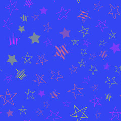 Stars in different shapes and forms. Merry Christmas and New Year seamless vector pattern. Colorful background for Xmas.