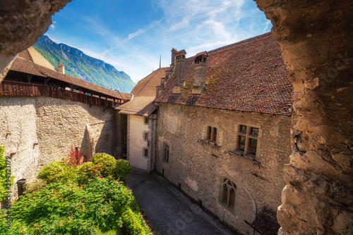 Staande foto Oude gebouw Architecture Old Historical and Famous Place Medieval of Chillon Castle, Beautiful Ancient Building Scenic of Swiss Culture at Switzerland. Chillon Fort With Historic Architectural at Montreux