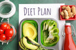 canvas print picture Different healthy food with diet plan on color background