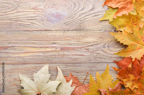 Poster Asia Country Different autumn leaves on wooden background