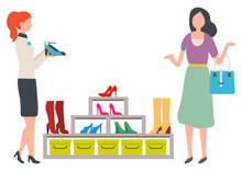 Woman Choosing Shoes In Fashion Store. Female Customer And Shop Assistant. Girl Buying High Heels Or Boots, Boutique Showcase Vector Illustration