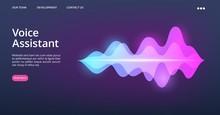Voice Assistant Web Page. Vector Sound Wave Landing Page. Website Recognition Assistant Voice Illustration