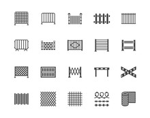 Fence Flat Glyph Icons Set. Wood Fencing, Metal Profiled Sheet, Wire Mesh, Crowd Control Barricades Vector Illustrations. Black Signs For Protection Store. Silhouette Pictogram Pixel Perfect 64x64