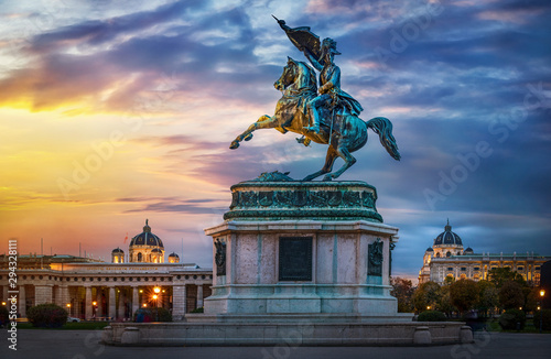 Garden Poster Old building Statue of Archduke Charles of Vienna, Austria. Evening view.