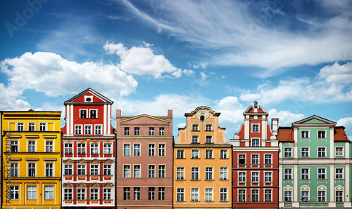 Colorful facades of historic buildings against the sky in the historic old town of Wroclaw, Poland Canvas-taulu