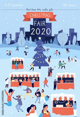Fototapeta Christmas Fair Poster Xmas Traditional Bazaar In December Flyer Design Winter Holiday Festival Gathering Vector Invitation Card