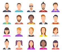 Flat Avatars. Male And Female Heads, Business Persons Portraits. Users Cartoon Faces Vector Set. Illustration Profile Person Avatar, Anonymous Woman And Man Portrait