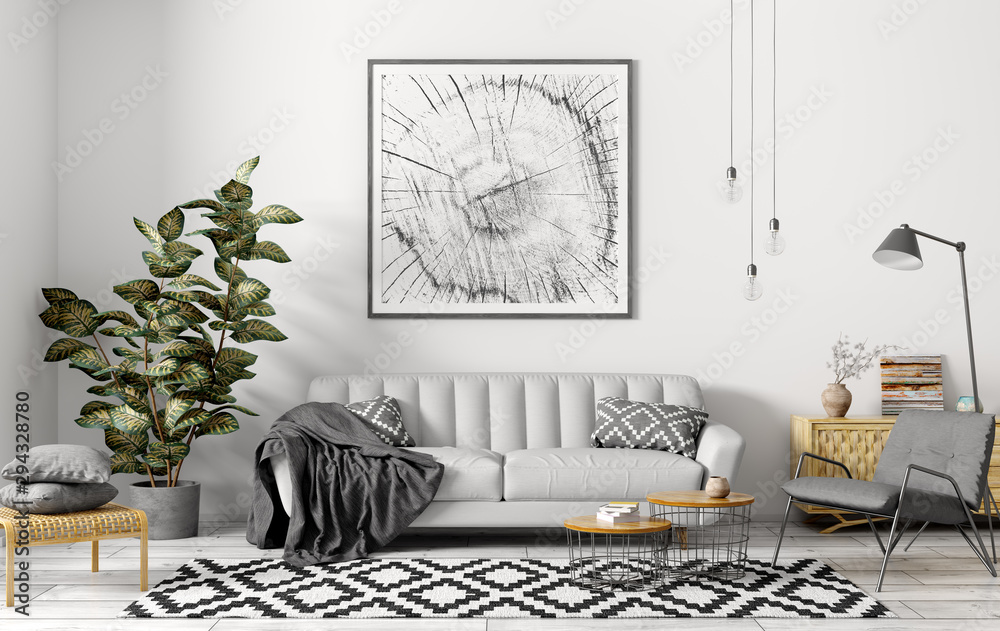 Interior of modern living room with grey sofa 3d rendering