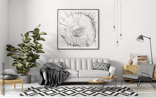 Fototapety, obrazy: Interior of modern living room with grey sofa 3d rendering