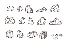 Outline Sketch Stone Set.